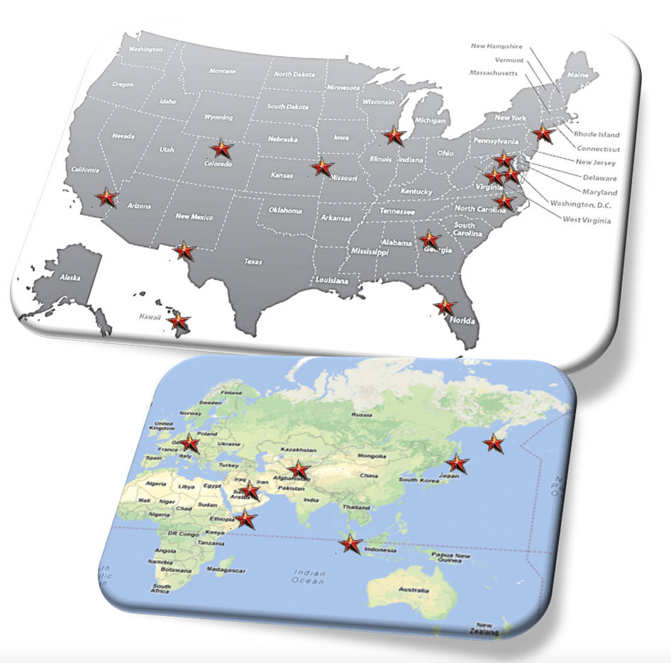 SHINE Office Locations and Deployment Locations Map