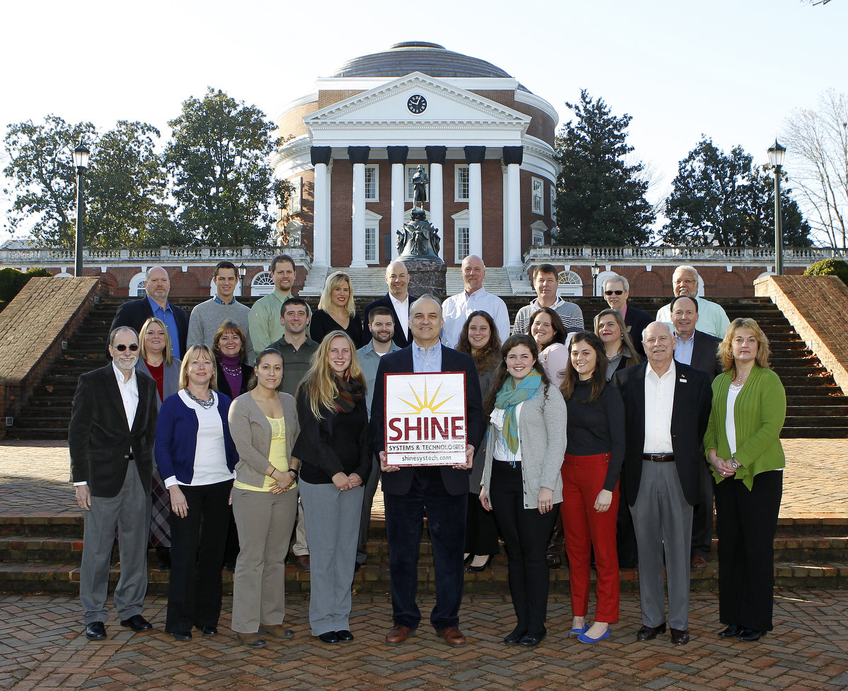 SHINE's Headquarters & Shenandoah Staff pose in front of The University of Virginia's famous Thomas Jefferson Rotunda in Charlottesville, VA.